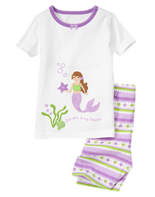 Toddler Girls White Mermaid Shortie Two-Piece Gymmies® by Gymboree