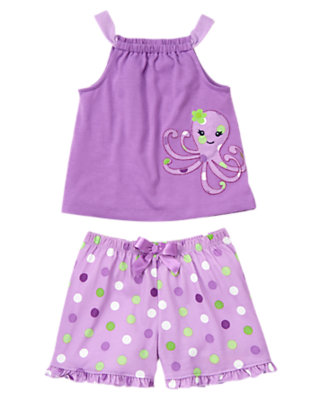 Purple Dot Octopus Shortie Two-Piece Pajama Set by Gymboree