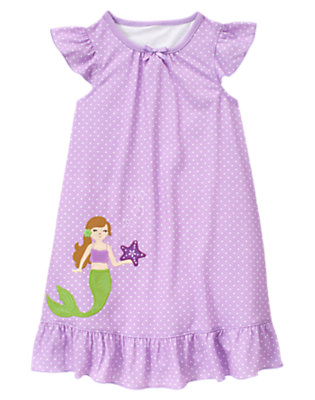 Lavender Mermaid Dot Pajama Gown by Gymboree