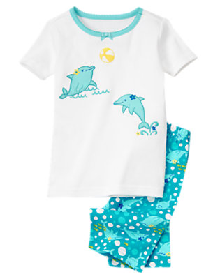Girls Sea Blue Dolphin Shortie Two-Piece Gymmies® by Gymboree