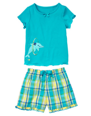 Sea Blue Dolphin Hoop Shortie Two-Piece Pajama Set by Gymboree