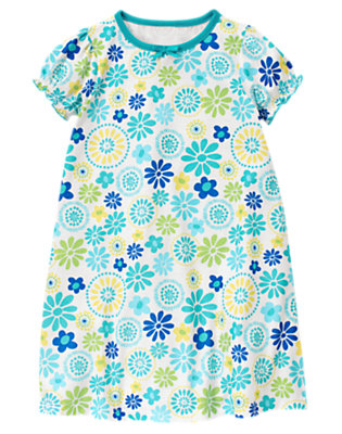 Sea Blue Floral Flower Pajama Gown by Gymboree