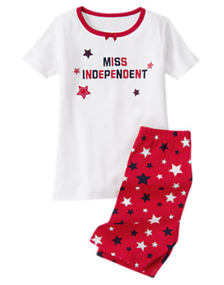 Toddler Girls Flag Red Miss Independent Shortie Two-Piece Gymmies® by Gymboree