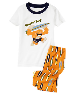 Boys Surf Orange Monster Surf Shortie Two-Piece Gymmies® by Gymboree