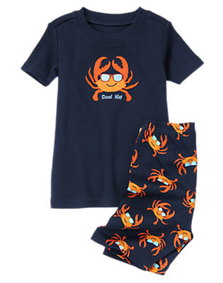 Toddler Boys Gym Navy Cool Crab Shortie Two-Piece Gymmies® by Gymboree