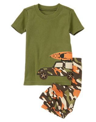 Toddler Boys Olive Camo Camo Jeep Shortie Two-Piece Gymmies® by Gymboree