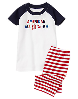 Boys Flag Red American All-Star Shortie Two-Piece Gymmies® by Gymboree