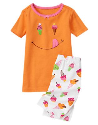 Orange Sherbet Ice Cream Smiley Shortie Two-Piece Gymmies® by Gymboree