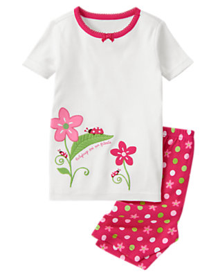 White Ladybug Friends Shortie Two-Piece Gymmies® by Gymboree