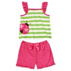 Stripe Dot Ladybug Shortie Two-Piece Pajama Set