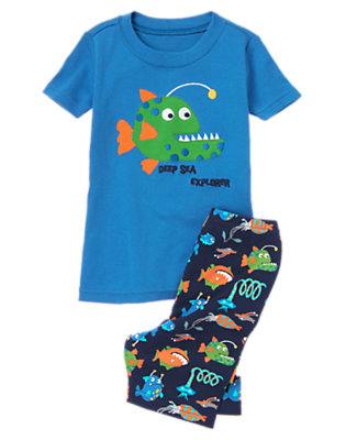Toddler Boys Deep Sea Blue Deep Sea Fish Shortie Two-Piece Gymmies® by Gymboree