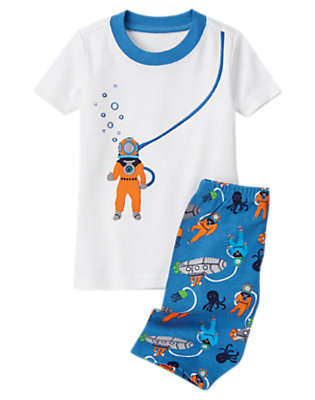 Toddler Boys White Scuba Diver Shortie Two-Piece Gymmies® by Gymboree