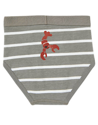 Boys Grey Stripe Lobster Stripe Brief by Gymboree