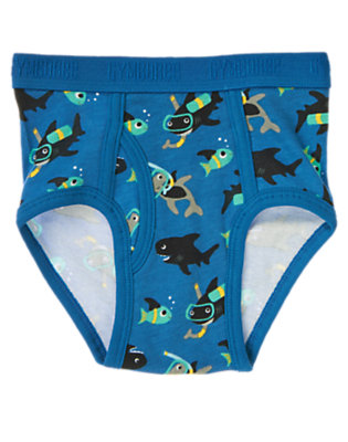 Toddler Boys Ocean Blue Snorkeling Sharks Brief by Gymboree