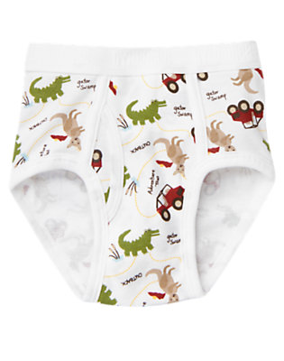 Toddler Boys White Outback Adventure Brief by Gymboree