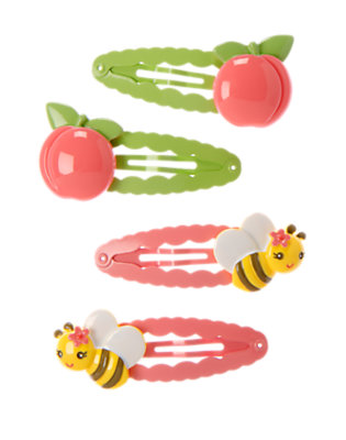 Bright Coral Bee Peach Snap Clip Four-Pack by Gymboree
