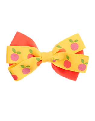 Bright Coral/Sunny Yellow Peach Bow Hair Clip by Gymboree