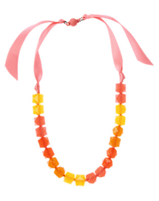 Bright Coral Sparkle Bead Ribbon Necklace by Gymboree