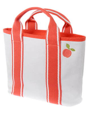 Girls White Peach Canvas Tote by Gymboree