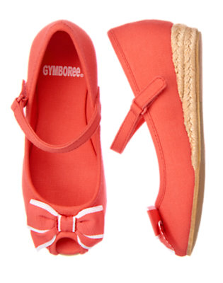 Bright Coral Bow Espadrille Shoe by Gymboree