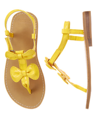 Girls Sunny Yellow Double Bow Sandal by Gymboree