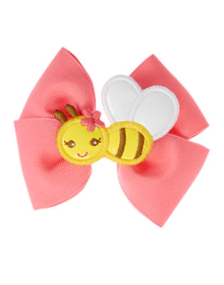 Bright Pink Bee Bow Hair Clip by Gymboree