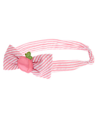Bright Pink Stripe Peach Stripe Seersucker Headband by Gymboree