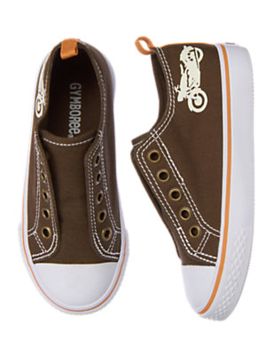 Desert Brown Motorcycle Laceless Sneaker by Gymboree