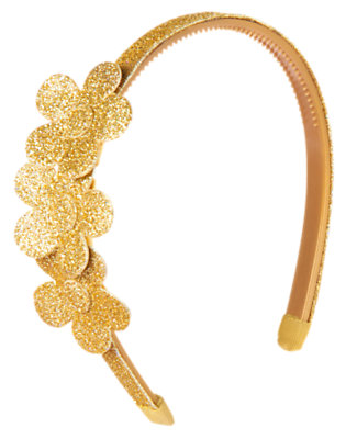 Gold Glitter Glitter Flower Headband by Gymboree