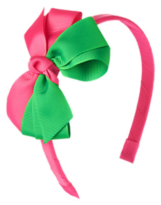 Girls Tropical Pink Double Bow Headband by Gymboree