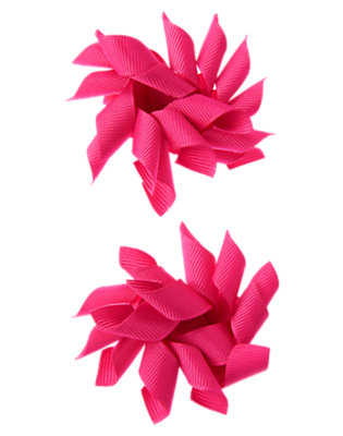 Toddler Girls Tropical Pink Jumbo Curly Hair Clip Two-Pack by Gymboree