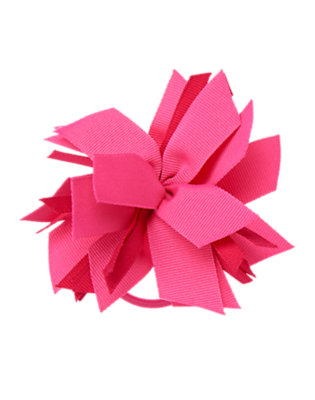 Girls Hibiscus Pink Ribbon Corsage Pony Holder by Gymboree