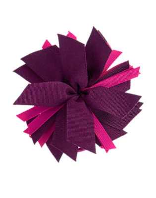 Girls Deep Plum Ribbon Corsage Pony Holder by Gymboree