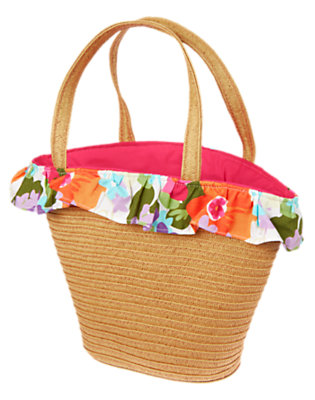Straw Flower Ruffle Straw Tote Bag by Gymboree