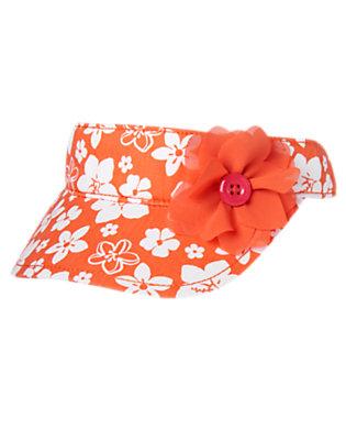 Girls Hibiscus Orange Floral Flower Visor by Gymboree