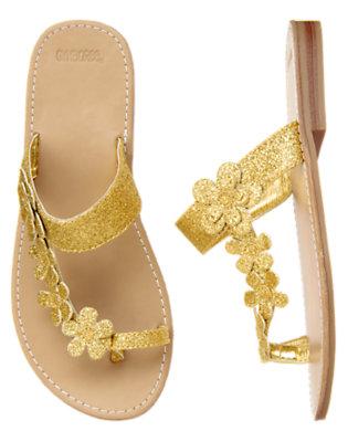 Gold Glitter Glitter Flower Flip Flop Sandal by Gymboree