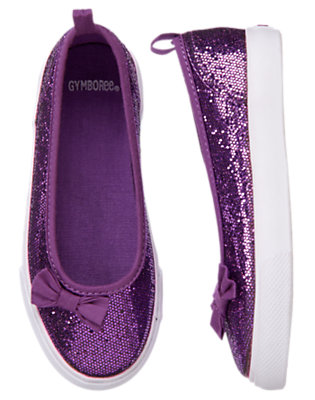 Girls Purple Glitter Bow Glitter Sneaker by Gymboree