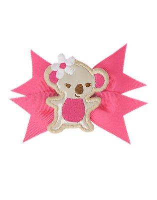 Hibiscus Pink Koala Bow Hair Clip by Gymboree