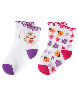 White Koala Flower Sock Two-Pack by Gymboree