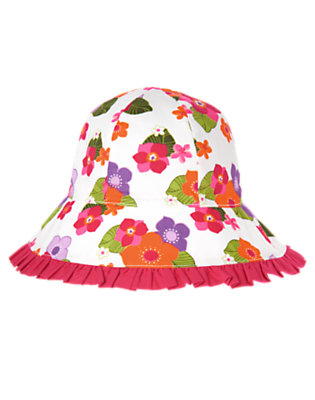 White Floral Tropical Flower Ruffle Sunhat by Gymboree
