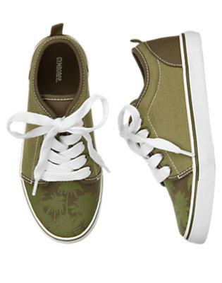 Boys Iguana Green Palm Tree Sneaker by Gymboree