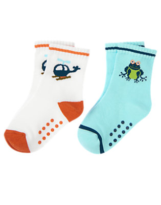 White Tree Frog Helicopter Sock Two-Pack by Gymboree