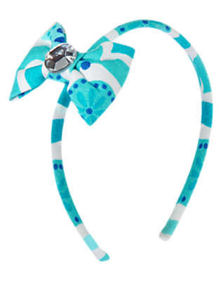 White/Aqua Tile Gem Bow Headband by Gymboree