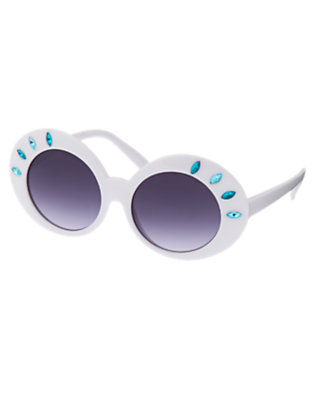 White Faceted Gem Sunglasses by Gymboree