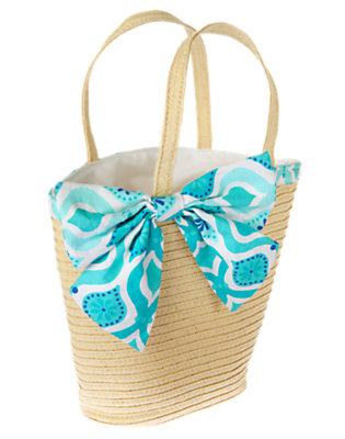 Straw Tile Print Bow Straw Tote Bag by Gymboree