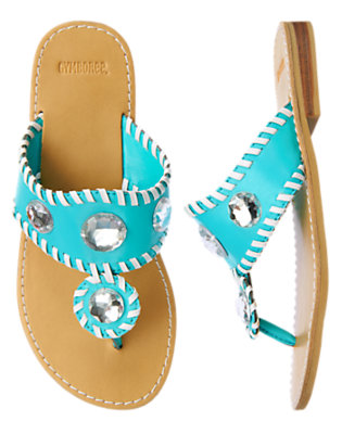 Dolphin Blue Gem Stitched Flip Flop Sandal by Gymboree