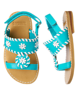 Aqua Blue Stitched T-Strap Sandal by Gymboree