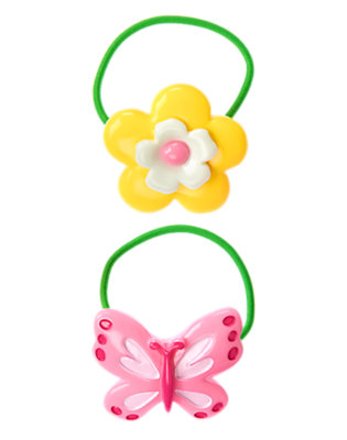 Girls Pond Green Butterfly Flower Pony Holder Two-Pack by Gymboree