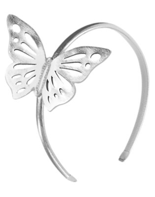 Girls Silver Metallic Butterfly Headband by Gymboree