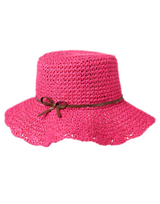 Girls Island Pink Crochet Straw Sunhat by Gymboree